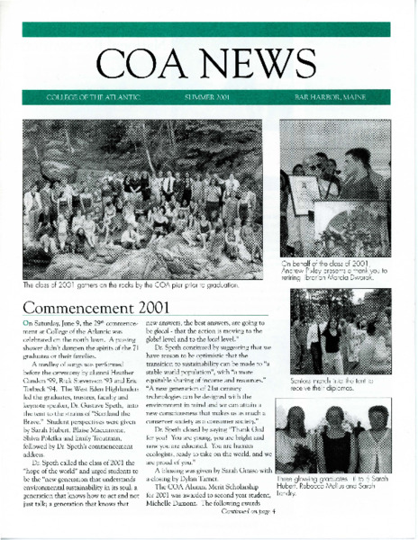COA News, newsletter, Summer 2001