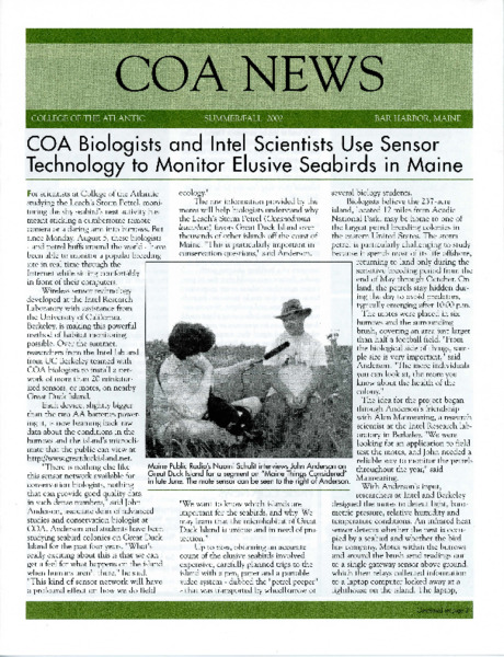COA News, newsletter, Summer/Fall 2002