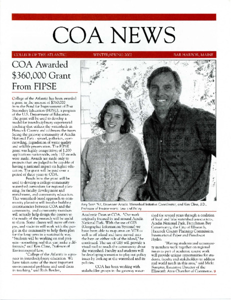 COA News, newsletter, Winter/Spring 2002