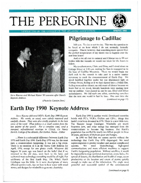 The Peregrine, newsletter, Spring 1990