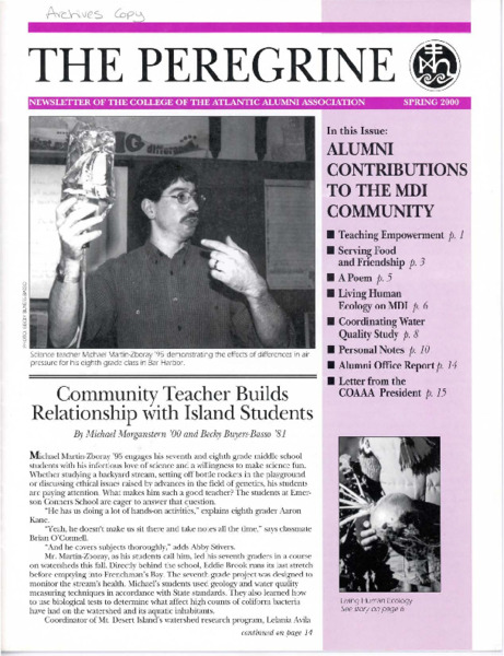 The Peregrine, newsletter, Spring 2000