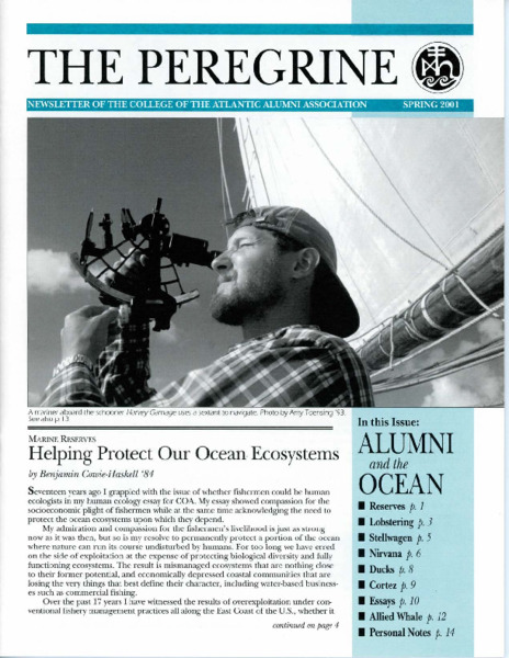 The Peregrine, newsletter, Spring 2001