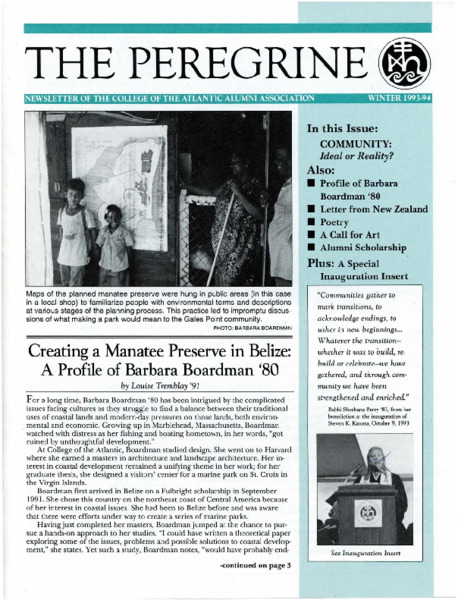 The Peregrine, newsletter, Winter 1993-1994