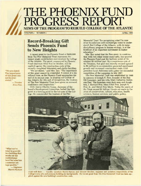 Phoenix Fund Progress Report, April 1986