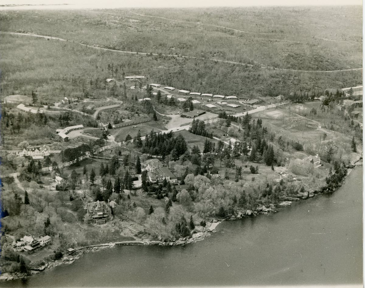 Aerial view of campus, photograph, circa 1970