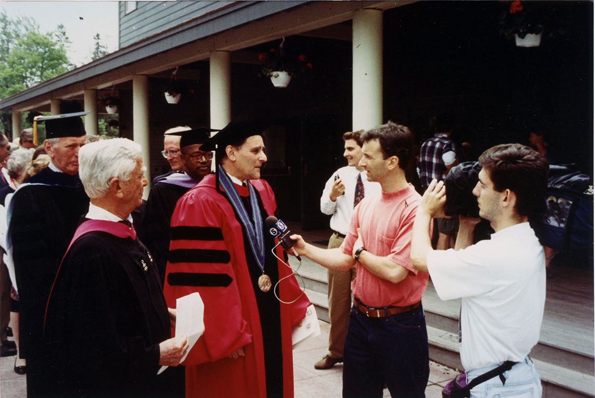 Steve Katona being interviewed at his inauguration, photograph, October 1993