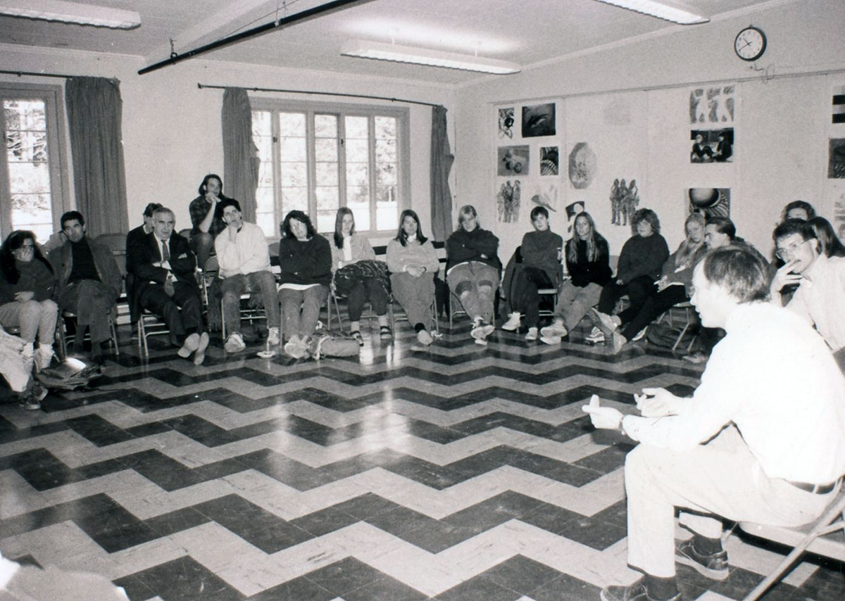 All College Meeting Dialogue, photograph, Spring 1990