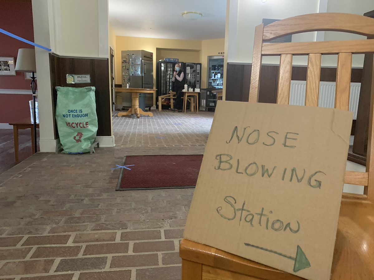 Nose Blowing Station Sign inside Deering Common, October 5, 2020