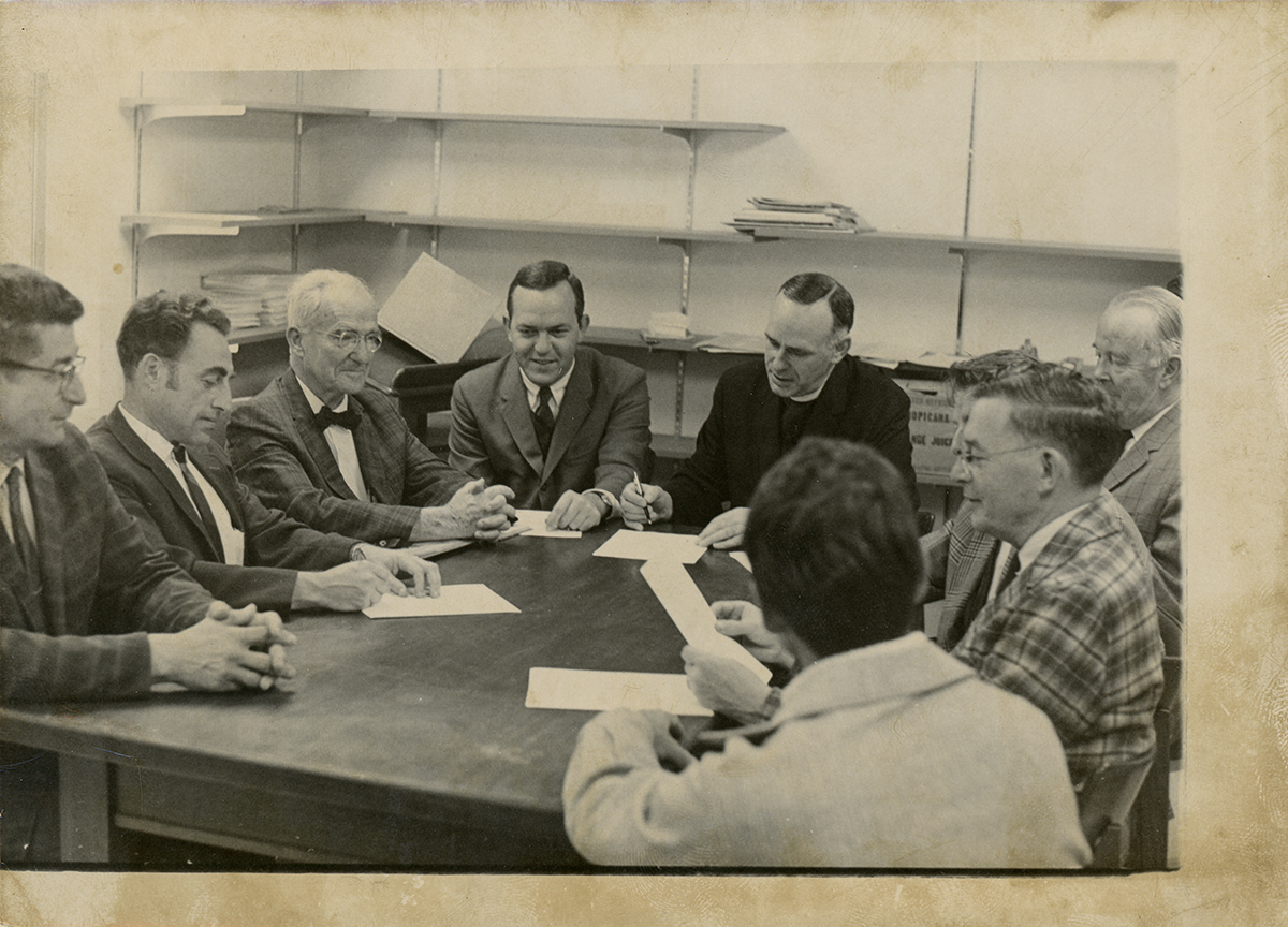 Trustees signing incorporation papers, photograph, July 10, 1969