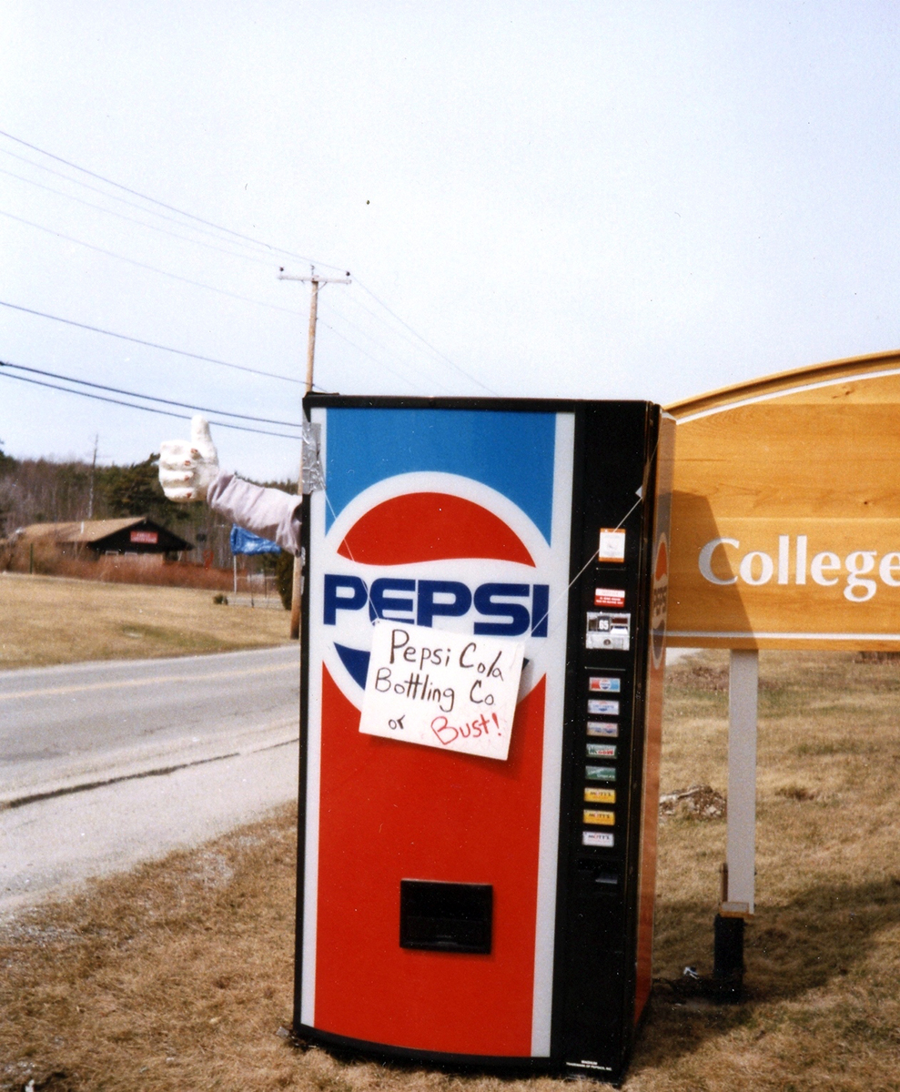 Pepsi machine disposal, photograph, April 1991
